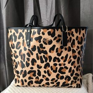 Authentic Coach Reversible Animal Print Tote